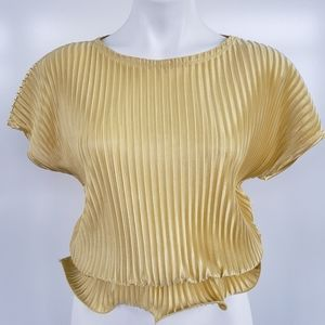 ZARA Collection Woman Basic Gold Fluted Top